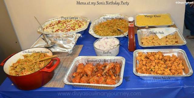 My Son's Birthday Party Menu- Indian Party Menu Ideas
