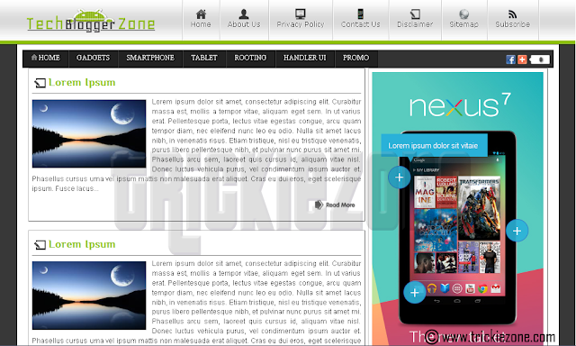 Tech Blogger Zone v1 2 Column Right Sidebar Blogger Template