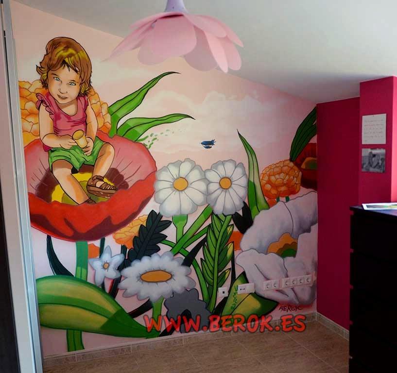 Graffiti para habitación de niña con estilo cómic Manga
