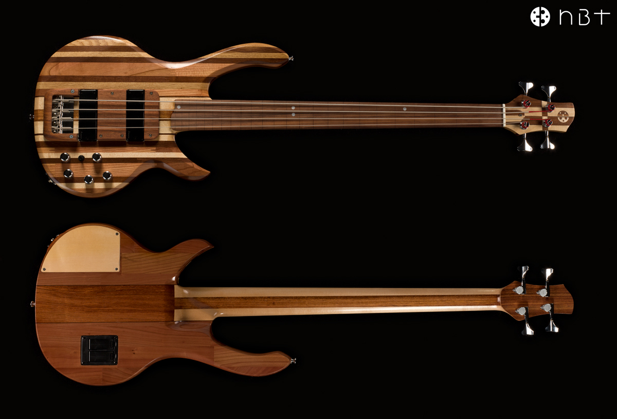 Electric bass made from scraps