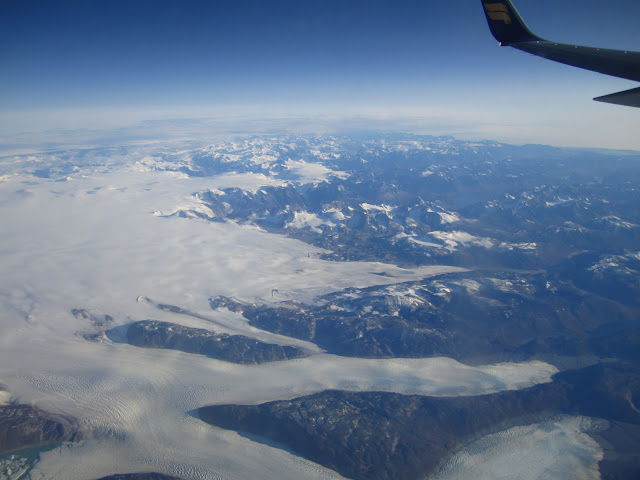 View of Greenland from airplane.
