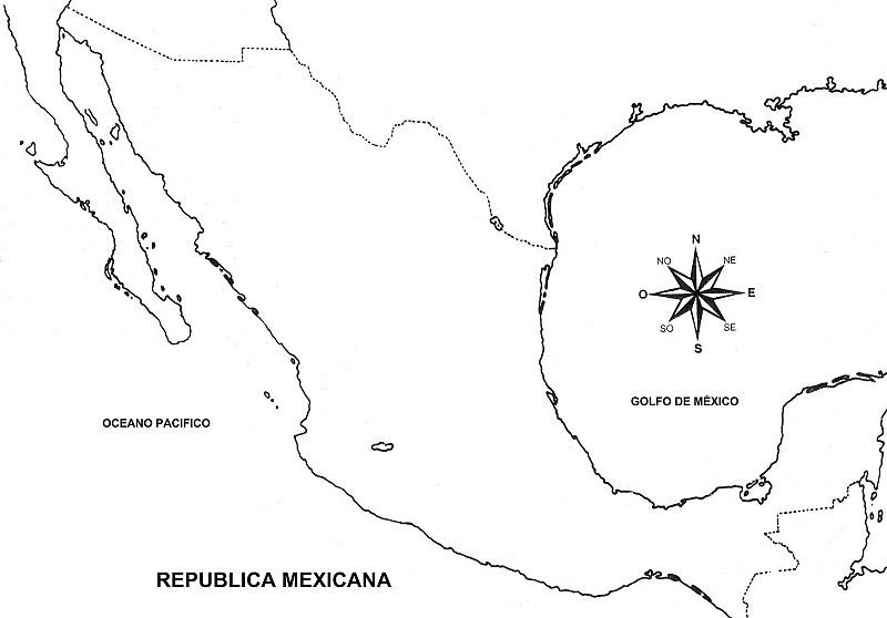 Mapa de la República Mexicana sin nombres para colorear ~ 4 Dibujo