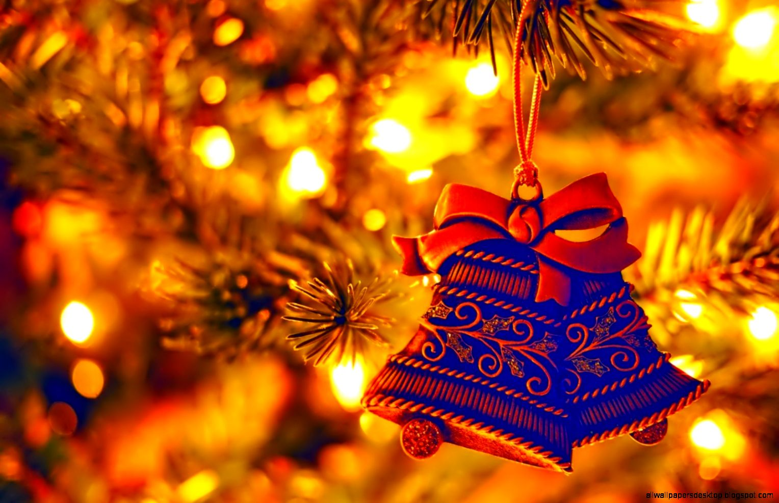 Holiday New Year Christmas Tree Decorations Bells   HD wallpapers