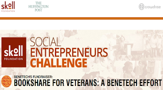 Banner of Bookshare for Veterans fundraising campaign on the Skoll Social Entrepreneurs Challenge.
