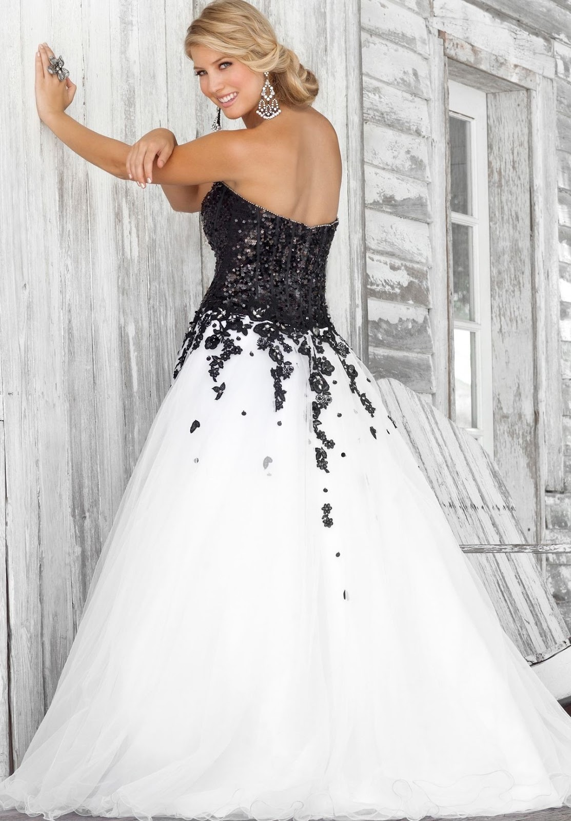 white ball gown with color accent