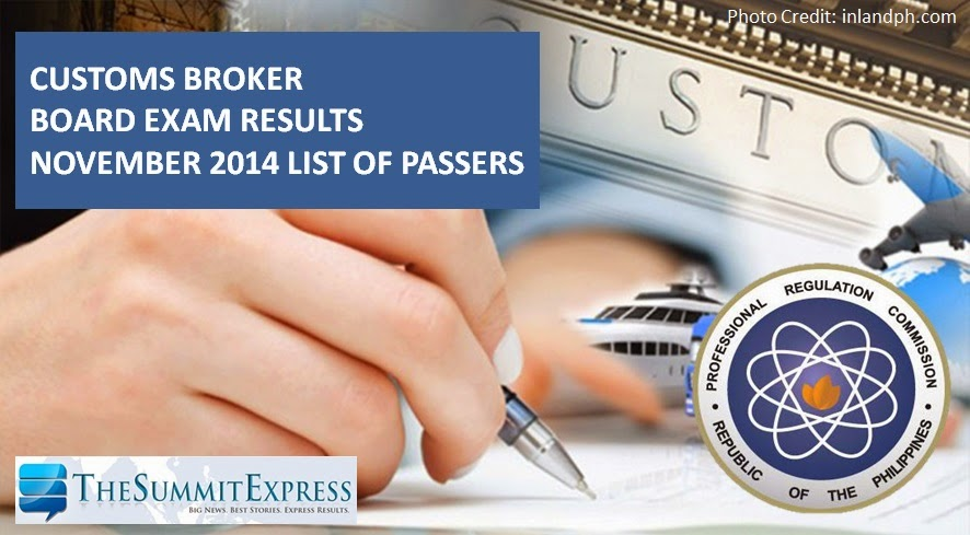Customs Broker Board Exam Results November 2014