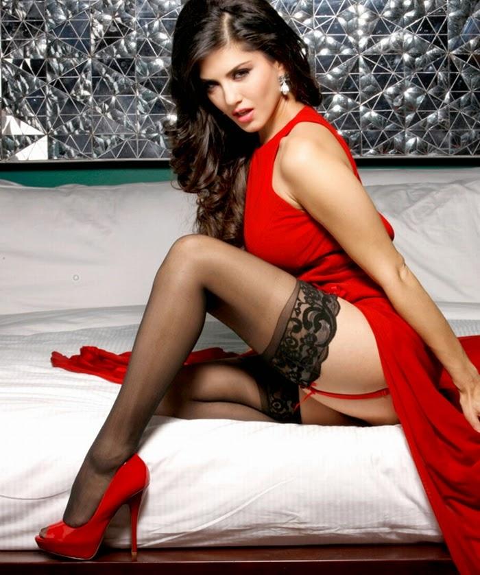 Sunny Leone Hot in Red Dress