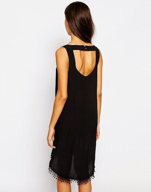 esprit black hem dress