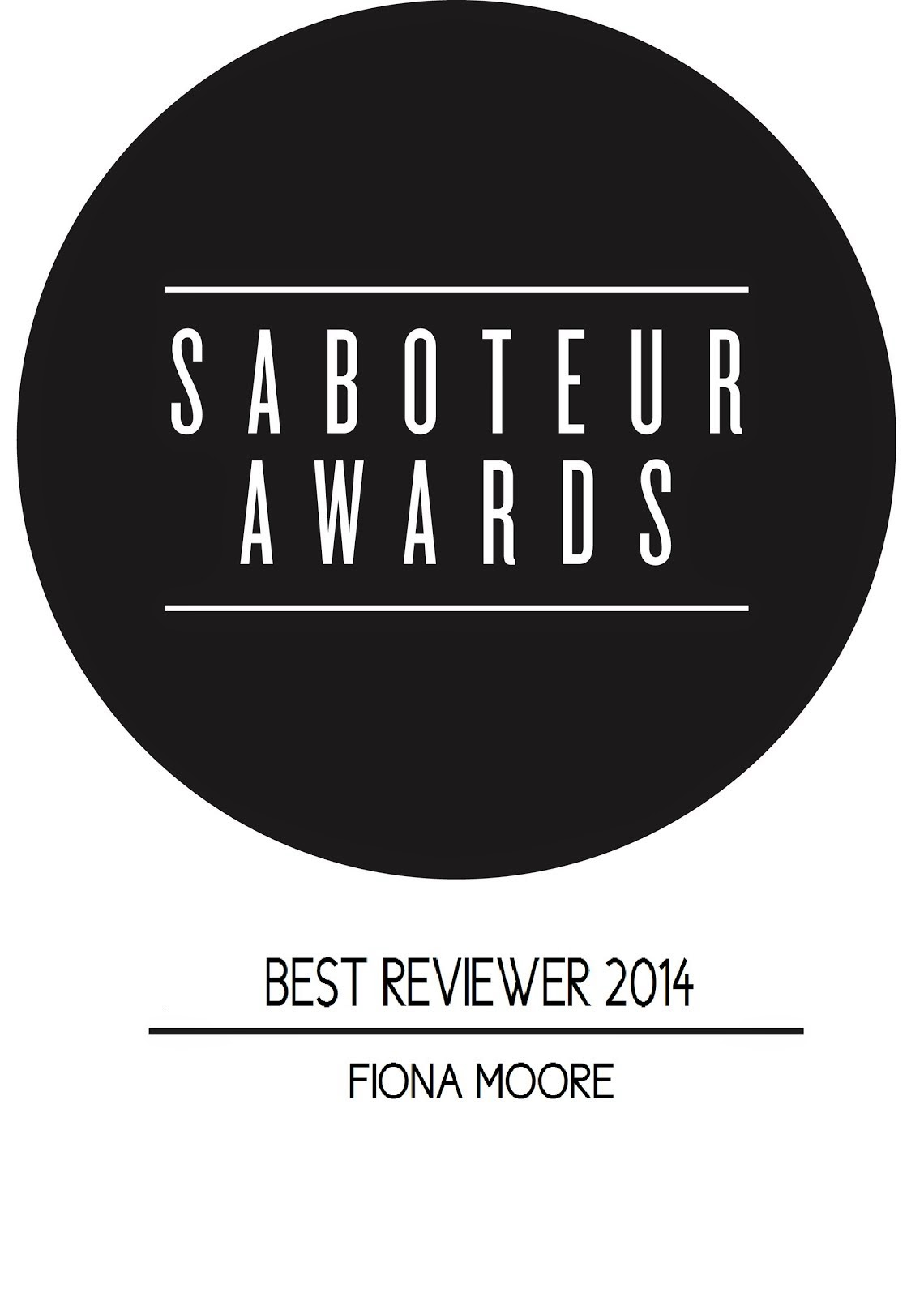 Saboteur Awards Best Reviewer 2014
