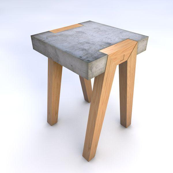 Banco concreto e madeira