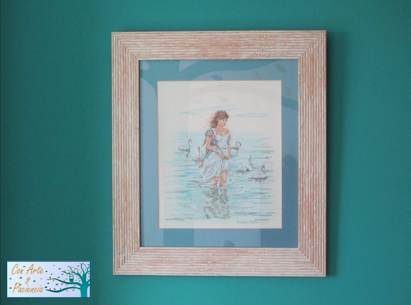 punto-cruz,blanco, turquesa, cuadro,  decoración,coser, playa, orilla, mar, jóven,