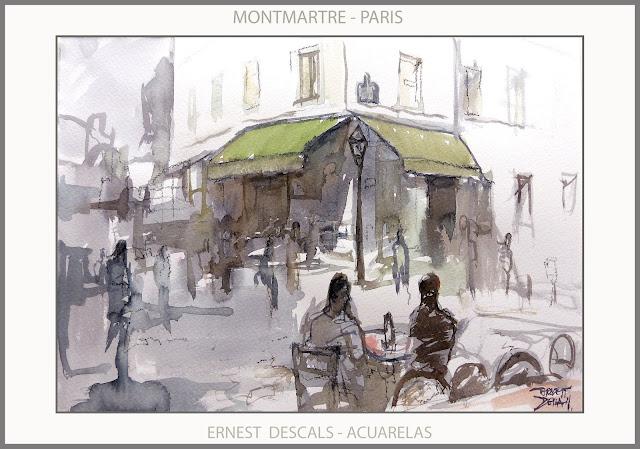 PARIS-MONTMARTRE-PINTURA-ACUARELAS-PINTURAS-ACUARELA-PAISAJES-FRANCIA-PINTOR-ERNEST DESCALS-