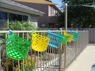 Baskets for pool accessories