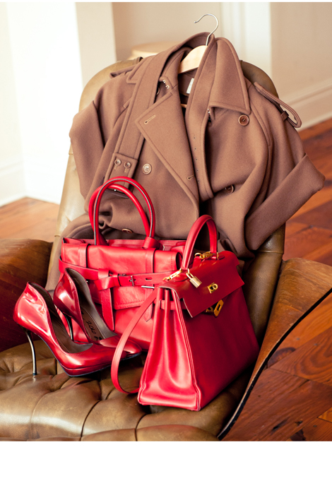 MaxMara coat, Reed Krakoff bag (left) Hermés bag (right), Lanvin shoes