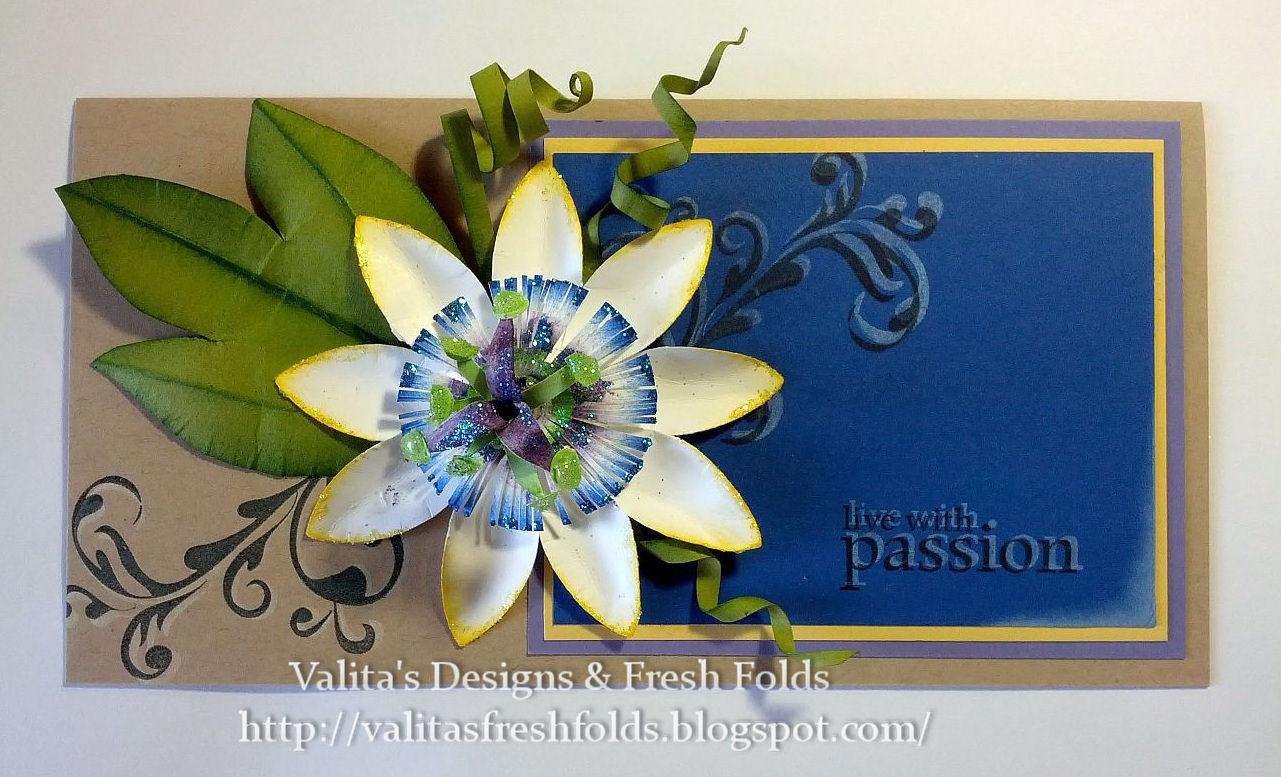Valitas Designs Fresh Folds Passion Flower Paper Art Instructions