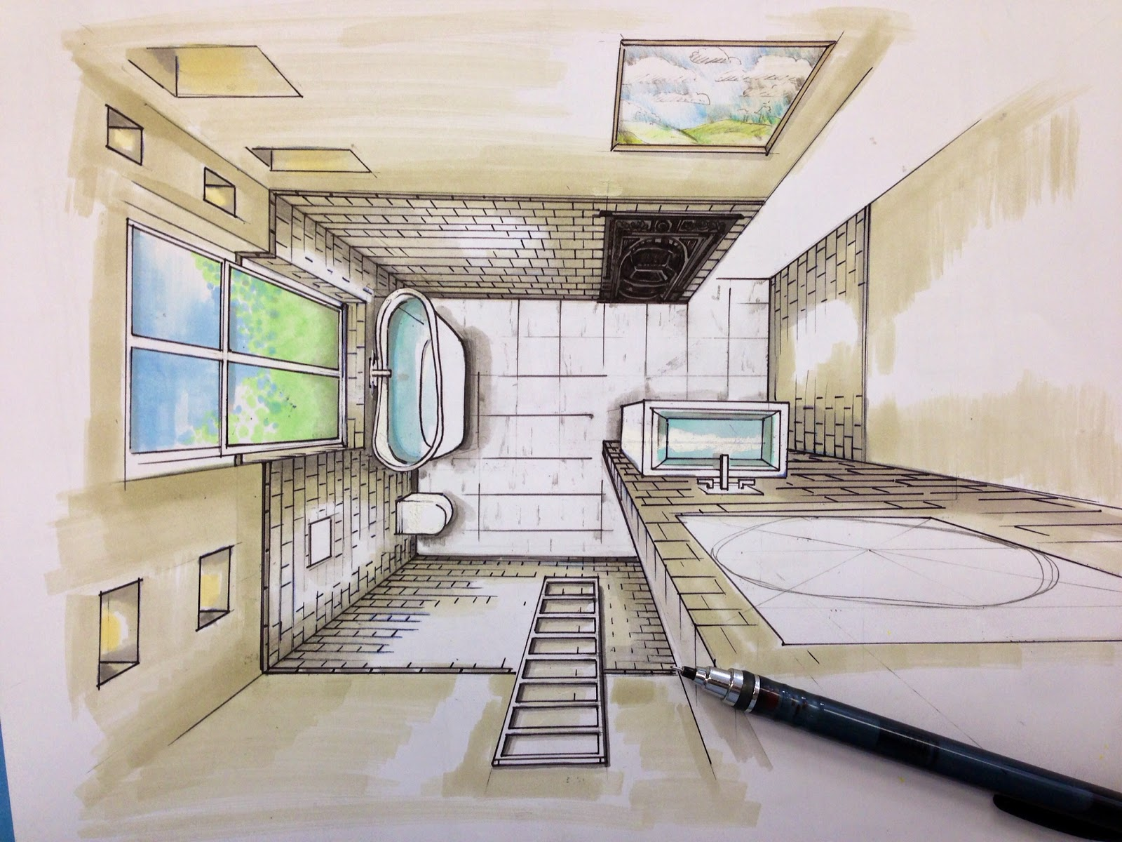 David Dangerous Interior Design Sketch Bathroom