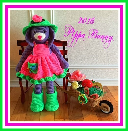 Pippa the Purple Bunny Doll Pattern© By Connie Hughes Designs©