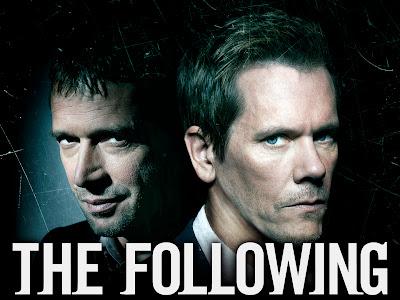 Portada de la serie The Following con la cara de los dos protagonistas, el bueno y el malo.