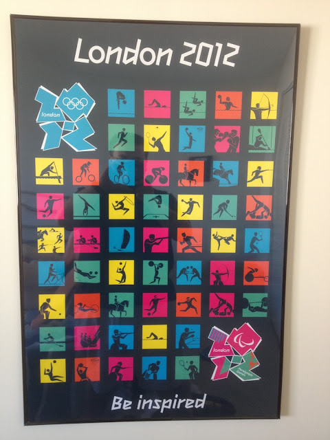 "Poster from the London 2012 Olympics.  A collage of the pictrograms that represent the Olympic spots, along with the London 2012 logo, and the games' slogan, ""Be Inspired."""