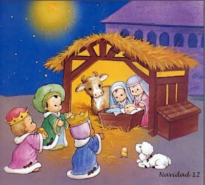 El niño Jesus, personas y una oveja