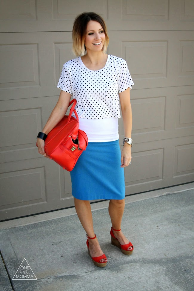 Blue skirt, red accessories and polka dots