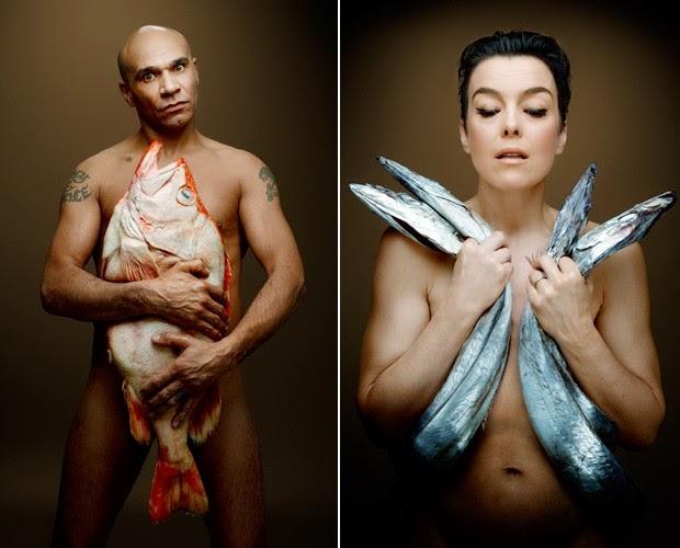 O DJ Goldie e a atriz Olivia Williams posam para campanha contra pesca de arrasto. Crédito: Fishlove/Rouvre