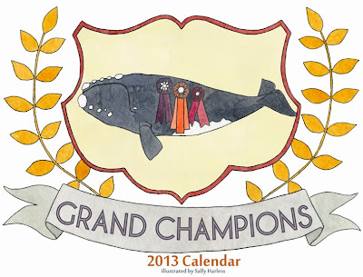 2013 calendar showing animals winning championships - whale on cover