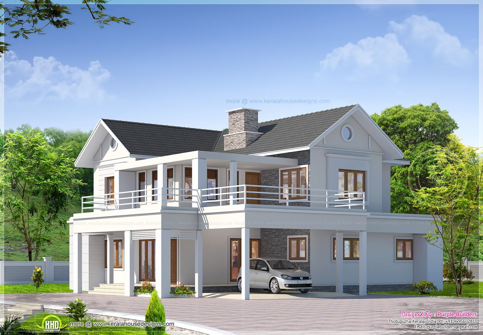 Two storey luxury villa has a total area of 2850 sq ft for Two storey house plans in kerala