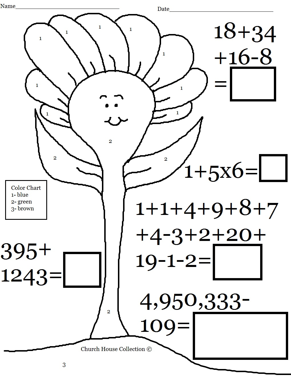 Addition Coloring Page