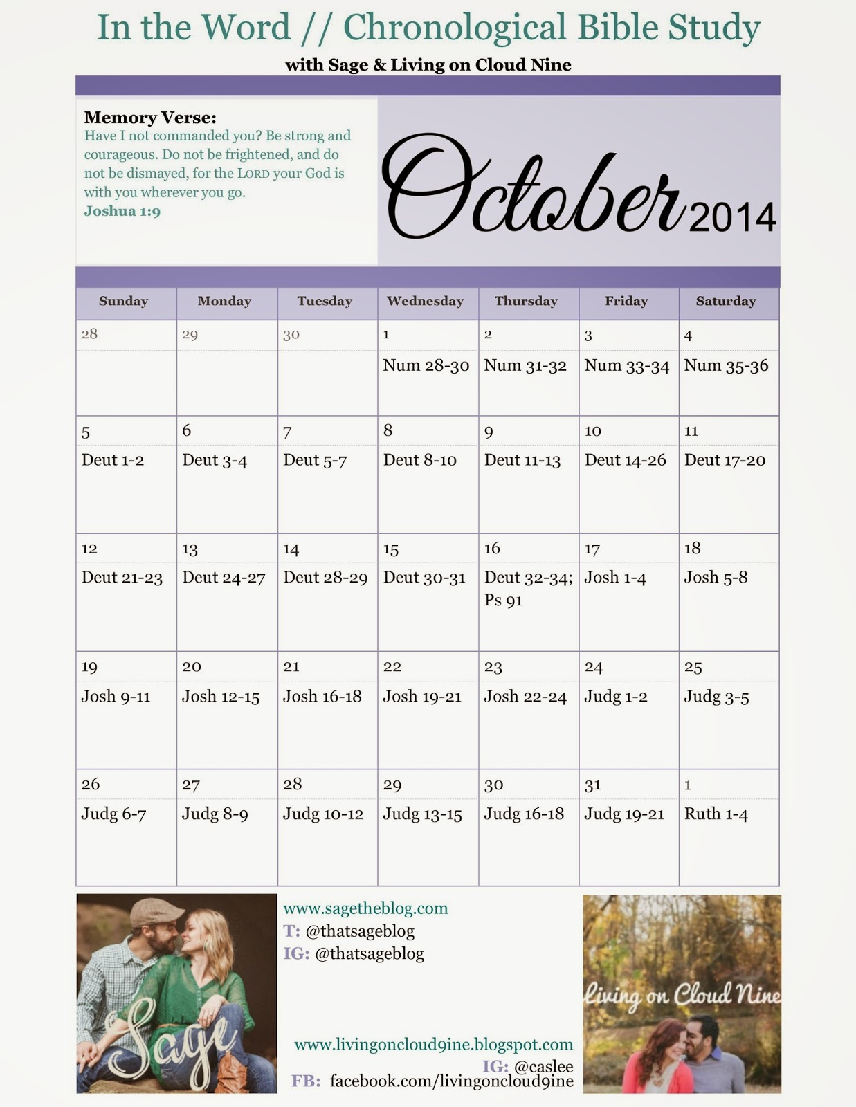 In the Word in One Year Chronological Bible Study Calendar October