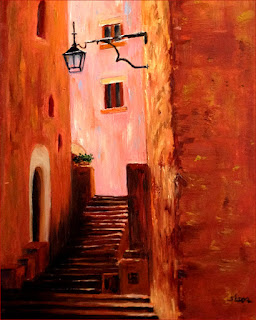 Oil Painting of traditional northern Italian village steps.