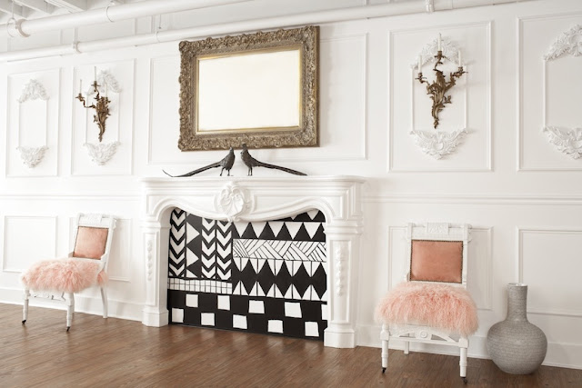 Interiors Decor - Parisian Inspired Office - style me pretty - moldings