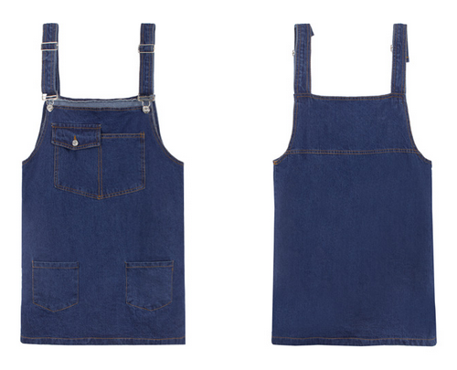 Patch Pocket Denim Dress Overalls