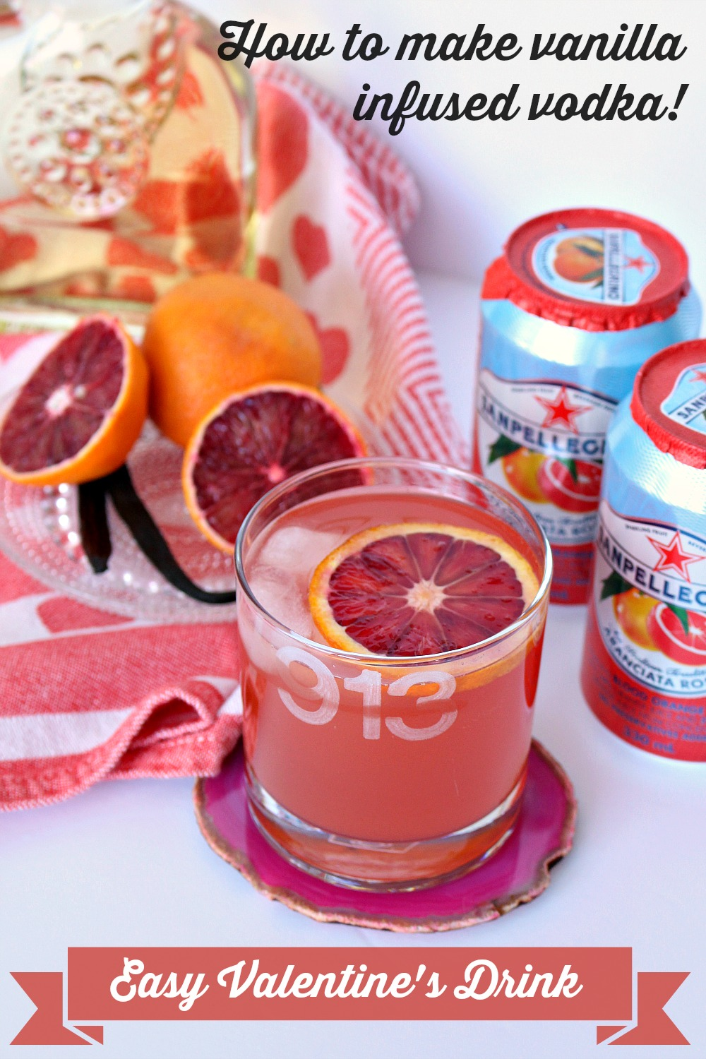 Easy vanilla infused vodka and sparkling fruit beverage