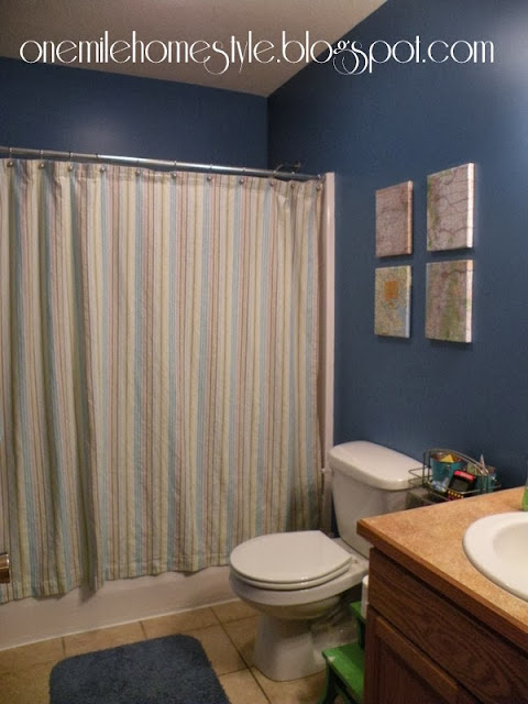 One Mile Home Style Niagara Blue Bathroom Redo