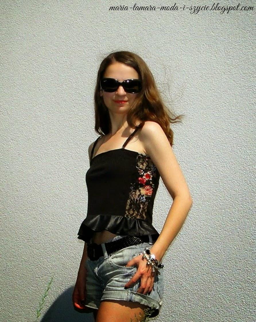 bluzka z baskinką i koronką na lato