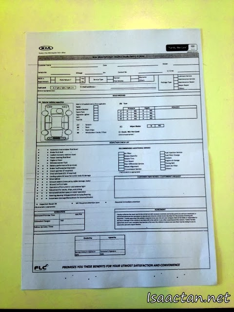 Kia Multipoint Inspection (MPI) Checklist Form