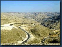 The terrain between Moab and Bethlehem