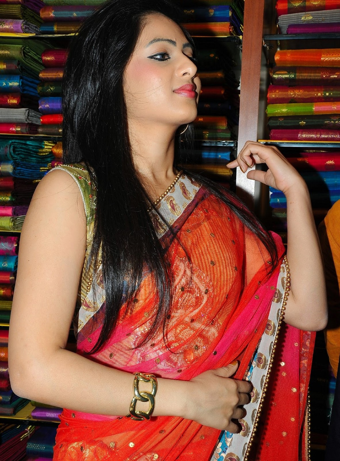 Nikesha at mall opening in saree