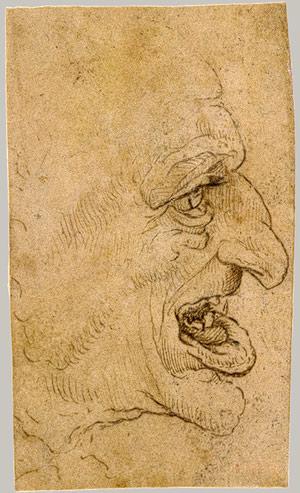 Cabeza grotesca. Leonardo da Vinci