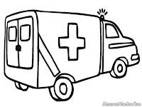 Gambar Mobil Ambulan Untuk Diwarnai