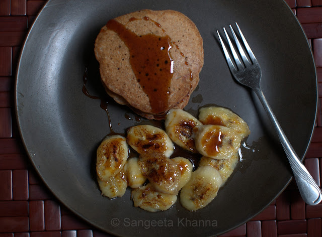 buckwheat pancake with caramelised banana and date syrup...