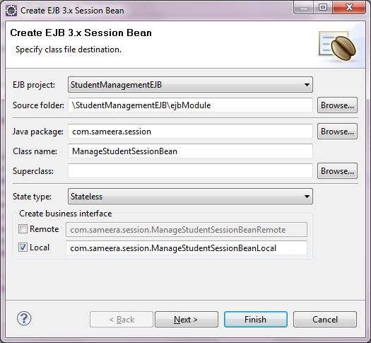 Create a Session Bean in Eclipse