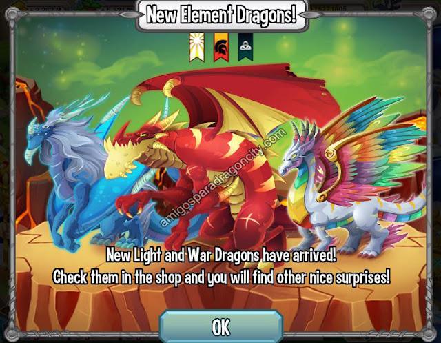 imagen de los nuevos elementos y dragones de dragon city