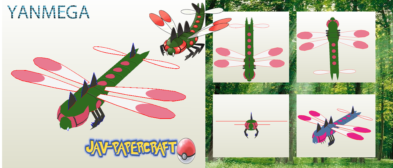 Pokemon Yanmega Papercraft