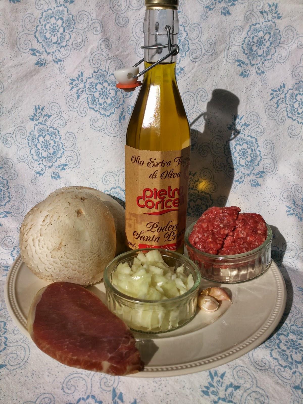 Portobello gevuld met gehakt.