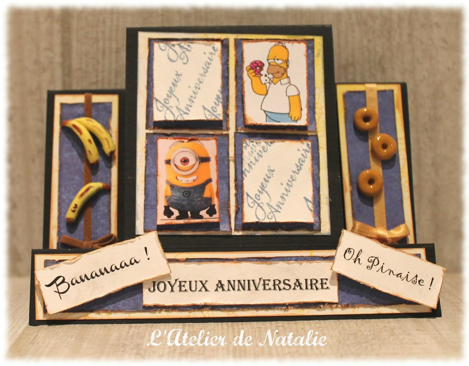 L 39 atelier de natalie carte d 39 anniversaire simpson et minion - Carte anniversaire simpson ...