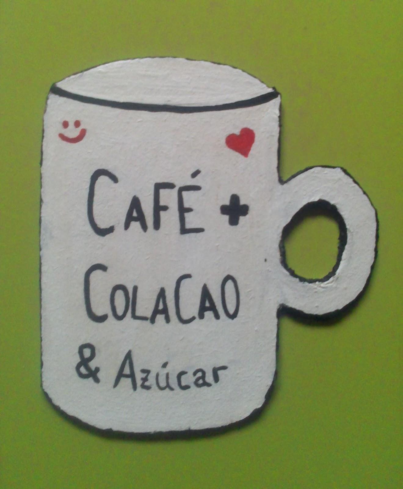 DIY imán taza café + colacao & azúcar