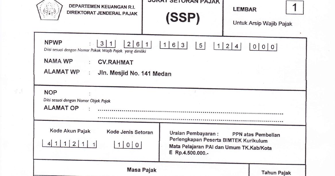 Form Surat Setoran Pajak Ssp Cara Pengisian Cara Pelaporan Amp Cara Pembayaran Mis