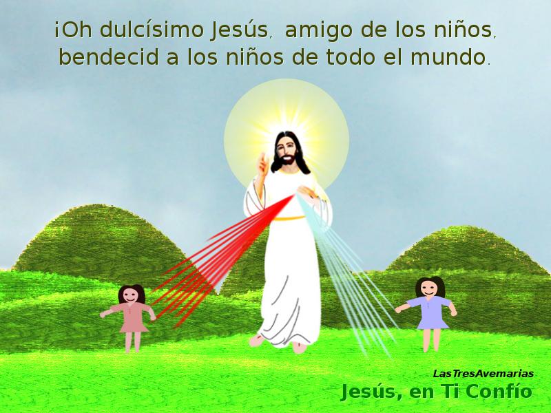 dos niña tomadas de los rayos que salen de jesus misericordioso